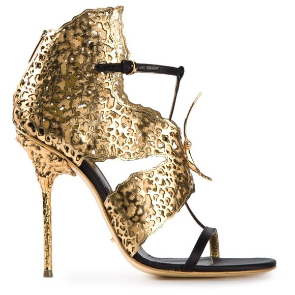 Sergio Rossi Gold Butterfly Heel